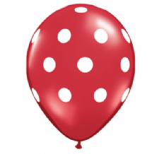 Polka Dot Balloons (Red & White Ink) - 11 Inch Balloons 25pcs